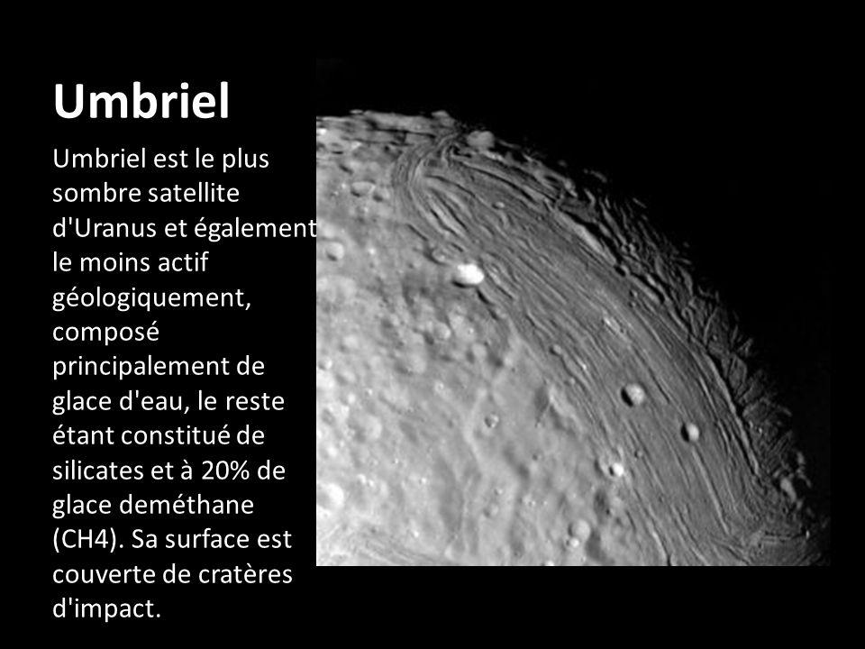 Umbriel Umbriel est le plus sombre satellite d'Uranus et également le moins actif géologiquement, composé principalement de glace d'eau, le reste étan