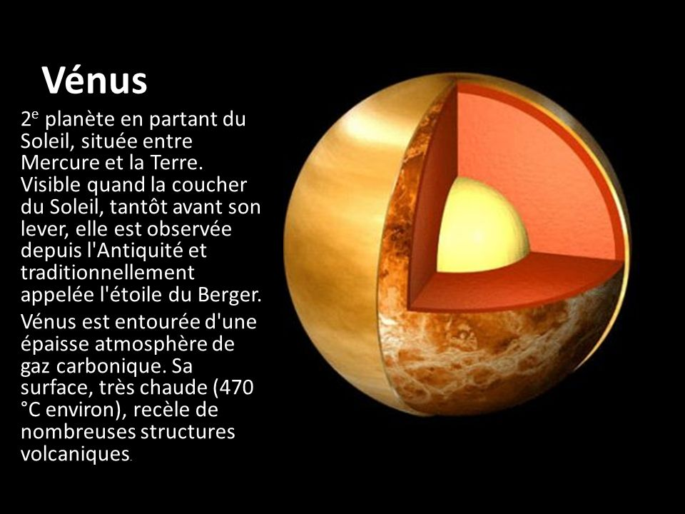 Type de planète : planète tellurique Découverte :connue depuis l Antiquité Demi-grand axe en km :108 208 601 Excentricité de l orbite :0,00677 Inclinaison de l orbite sur l écliptique :3°,3947 Période de révolution sidérale :224,701 jours Période de rotation (rétrograde) :243,02 jours Période de rotation de l atmosphère :4 jours Vitesse orbitale :35 km/s Diamètre apparent équatorial au plus près de la Terre :64 ,4 (valeur maximale) Diamètre équatorial (Terre=1) :0,9488 Diamètre équatorial :12 103,6 km