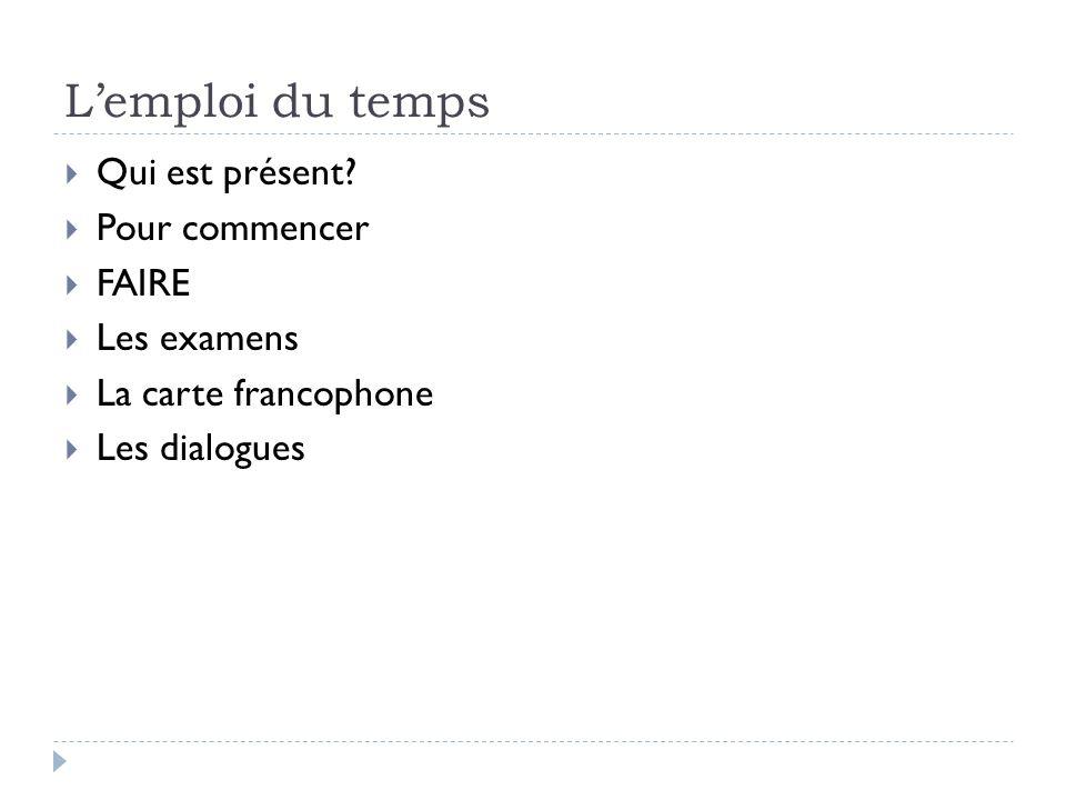 Pour commencer 1.Quel est la date aujourdhui. 2. Conjugate & define FAIRE in all 6 forms 3.
