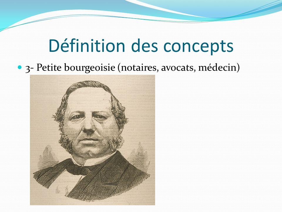 Définition des concepts 3- Petite bourgeoisie (notaires, avocats, médecin)