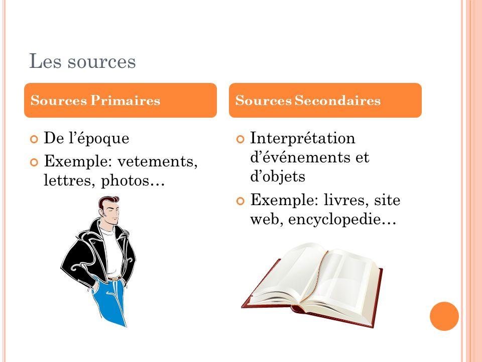 Les sources De lépoque Exemple: vetements, lettres, photos… Interprétation dévénements et dobjets Exemple: livres, site web, encyclopedie… Sources Pri