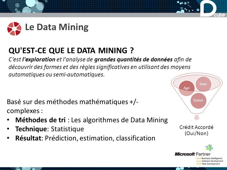 Le Data Mining QU'EST-CE QUE LE DATA MINING ? Cest l'exploration et l'analyse de grandes quantités de données afin de découvrir des formes et des règl