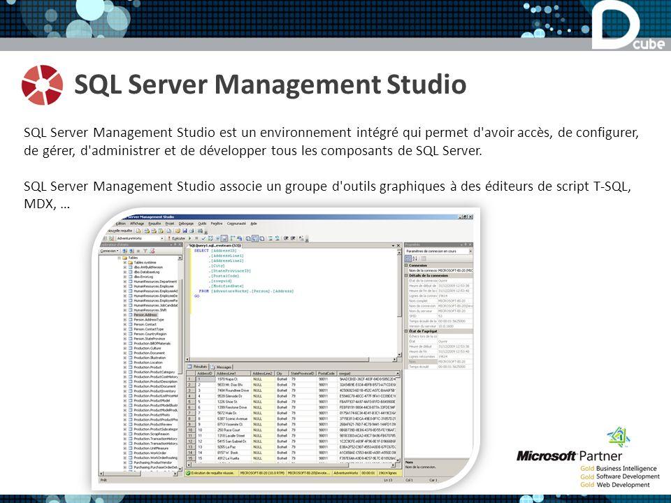 SQL Server Management Studio SQL Server Management Studio est un environnement intégré qui permet d avoir accès, de configurer, de gérer, d administrer et de développer tous les composants de SQL Server.