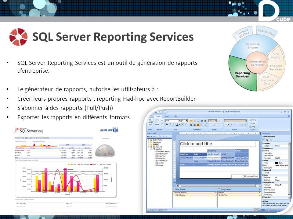 SQL Server Reporting Services SQL Server Reporting Services est un outil de génération de rapports dentreprise. Le générateur de rapports, autorise le