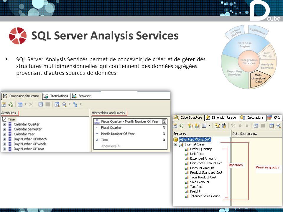 SQL Server Analysis Services SQL Server Analysis Services permet de concevoir, de créer et de gérer des structures multidimensionnelles qui contiennent des données agrégées provenant d autres sources de données
