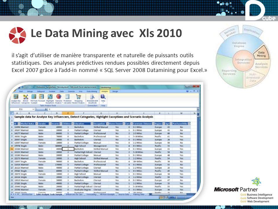 Le Data Mining avec Xls 2010 il sagit dutiliser de manière transparente et naturelle de puissants outils statistiques. Des analyses prédictives rendue