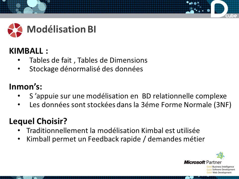 Modélisation BI KIMBALL : Tables de fait, Tables de Dimensions Stockage dénormalisé des données Inmons: S appuie sur une modélisation en BD relationnelle complexe Les données sont stockées dans la 3éme Forme Normale (3NF) Lequel Choisir.