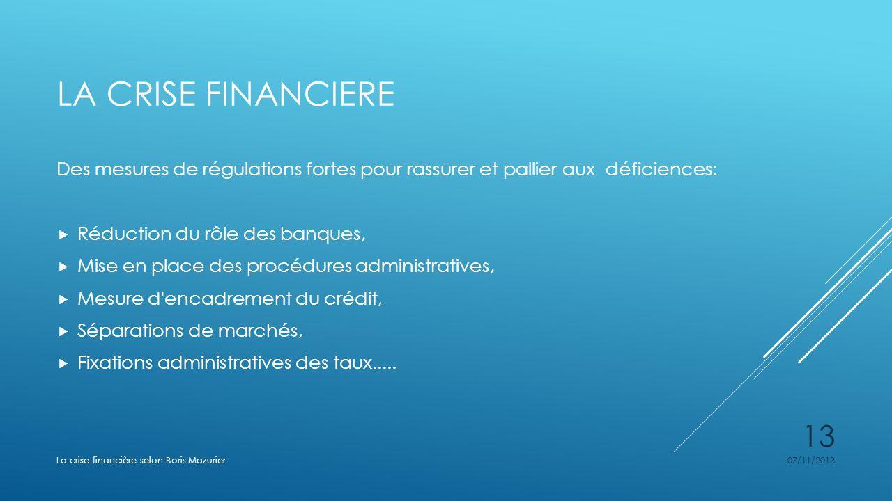LA CRISE FINANCIERE Des mesures de régulations fortes pour rassurer et pallier aux déficiences: Réduction du rôle des banques, Mise en place des procé