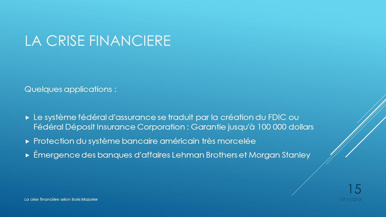 LA CRISE FINANCIERE Quelques applications : Le système fédéral d'assurance se traduit par la création du FDIC ou Fédéral Déposit Insurance Corporation