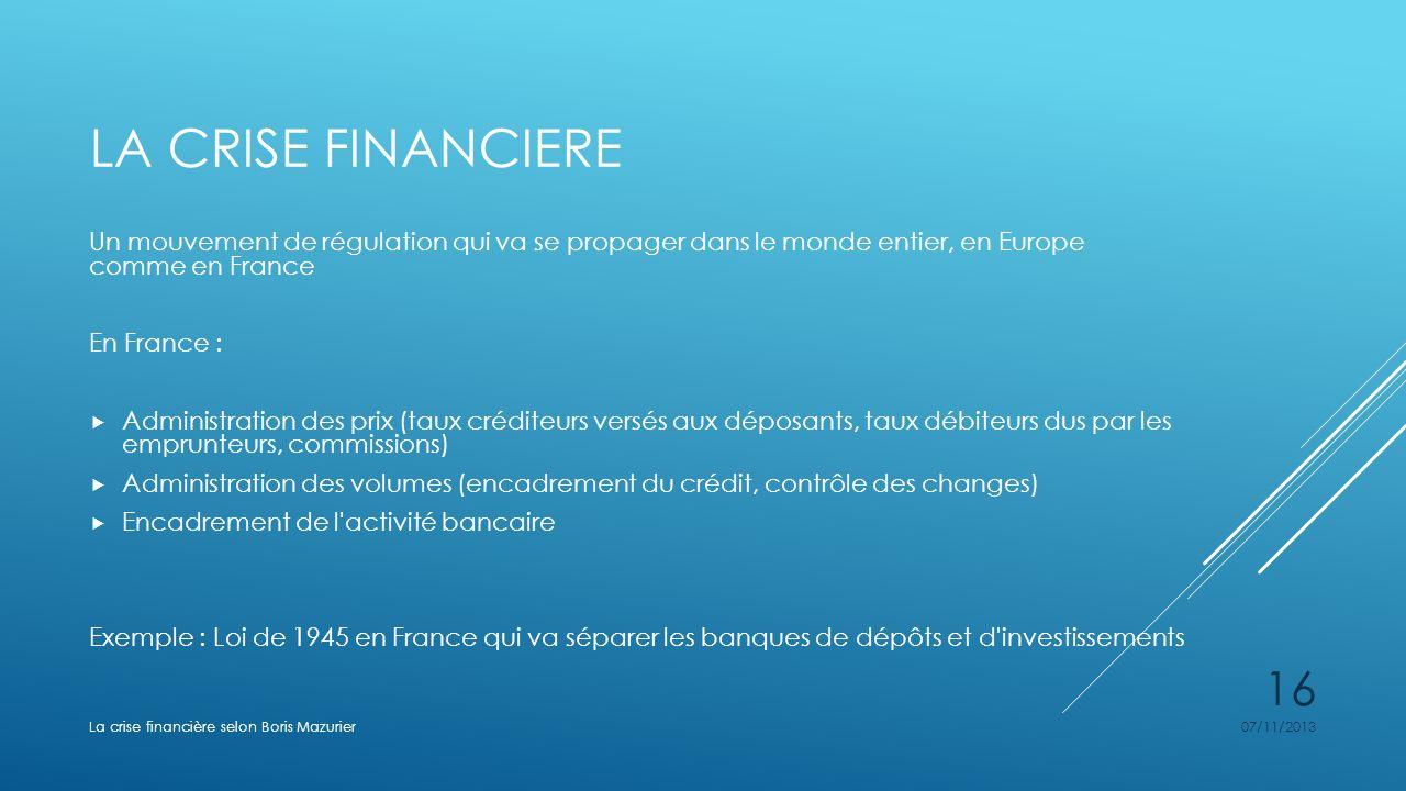 LA CRISE FINANCIERE Un mouvement de régulation qui va se propager dans le monde entier, en Europe comme en France En France : Administration des prix