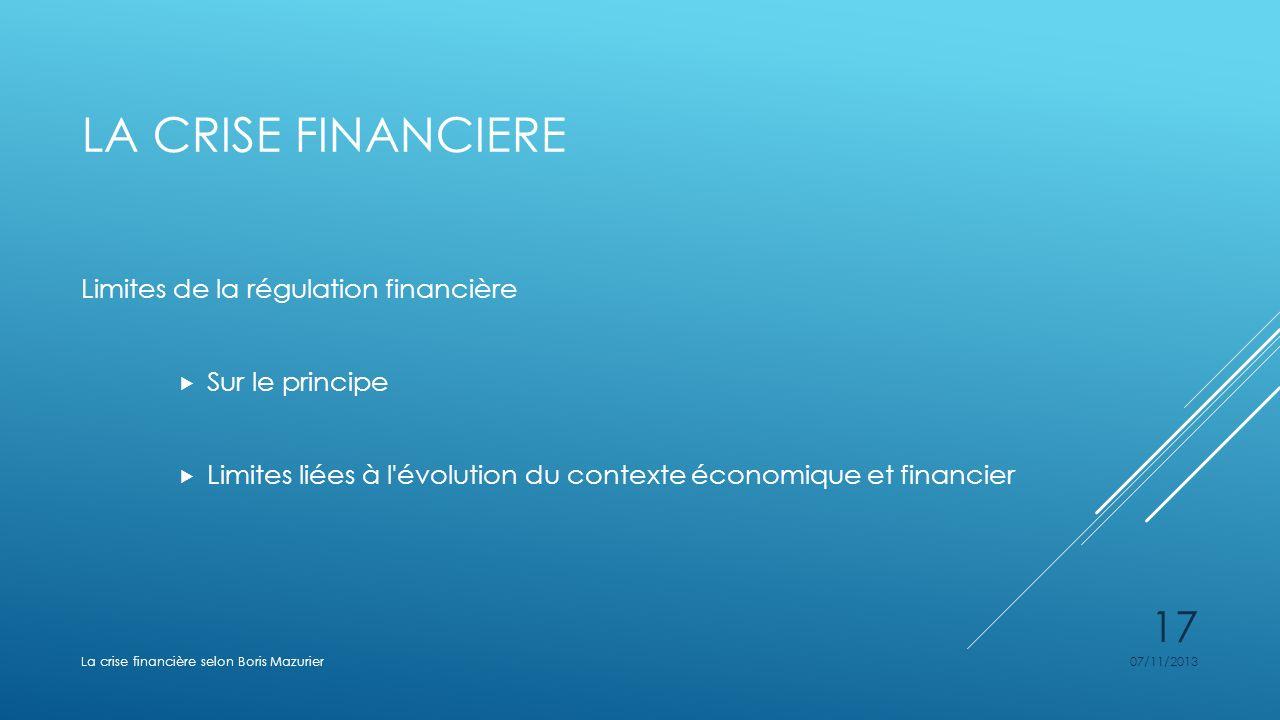 LA CRISE FINANCIERE Limites de la régulation financière Sur le principe Limites liées à l'évolution du contexte économique et financier 07/11/2013La c