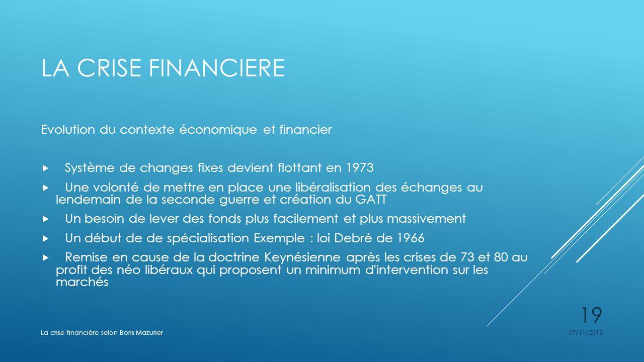 LA CRISE FINANCIERE Evolution du contexte économique et financier Système de changes fixes devient flottant en 1973 Une volonté de mettre en place une