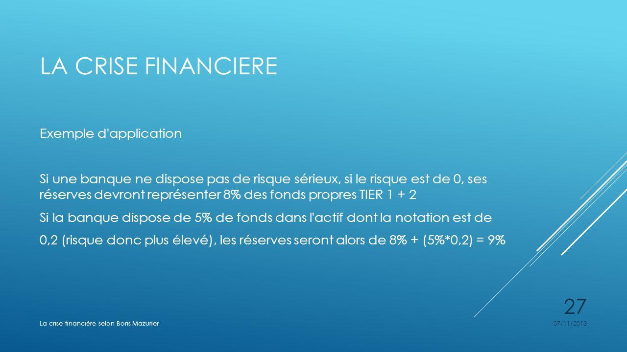 LA CRISE FINANCIERE Exemple d'application Si une banque ne dispose pas de risque sérieux, si le risque est de 0, ses réserves devront représenter 8% d