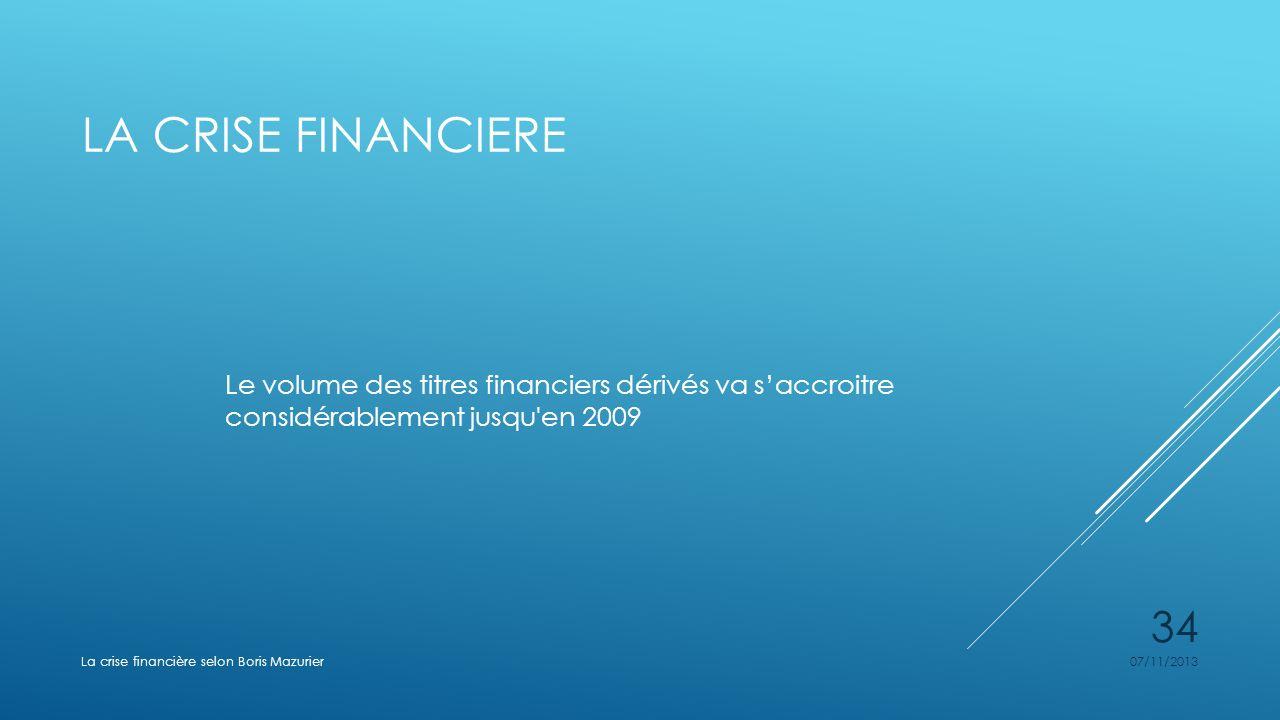 LA CRISE FINANCIERE Le volume des titres financiers dérivés va saccroitre considérablement jusqu'en 2009 07/11/2013La crise financière selon Boris Maz