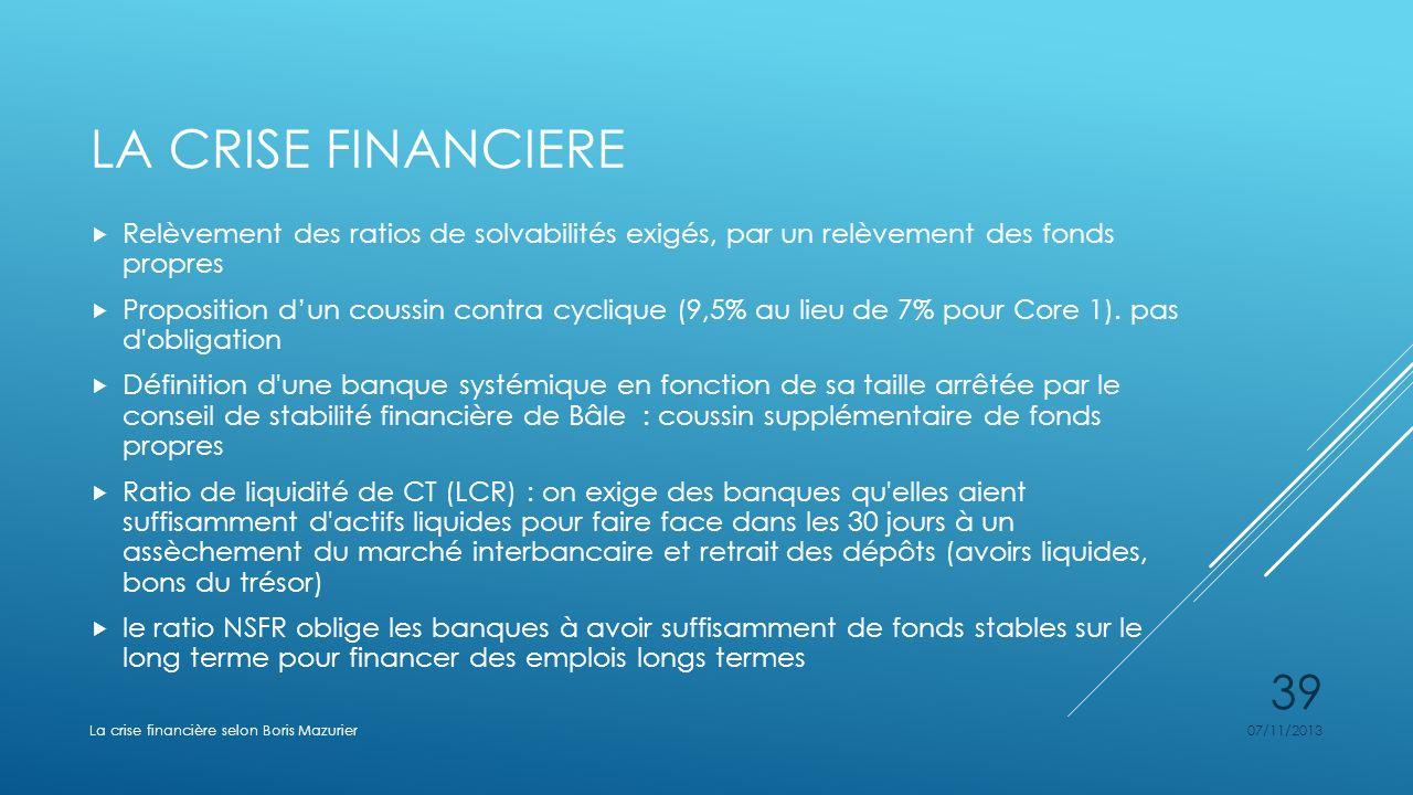 LA CRISE FINANCIERE Relèvement des ratios de solvabilités exigés, par un relèvement des fonds propres Proposition dun coussin contra cyclique (9,5% au