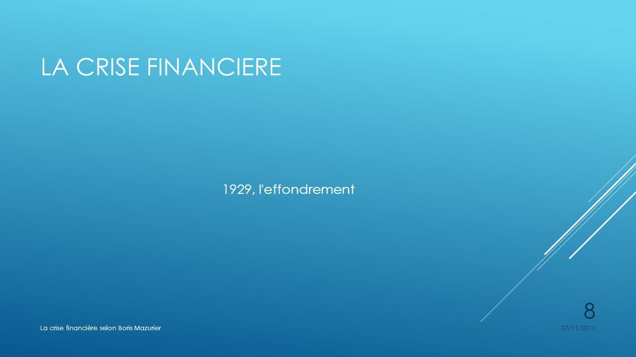 LA CRISE FINANCIERE 1929, l'effondrement 07/11/2013La crise financière selon Boris Mazurier 8