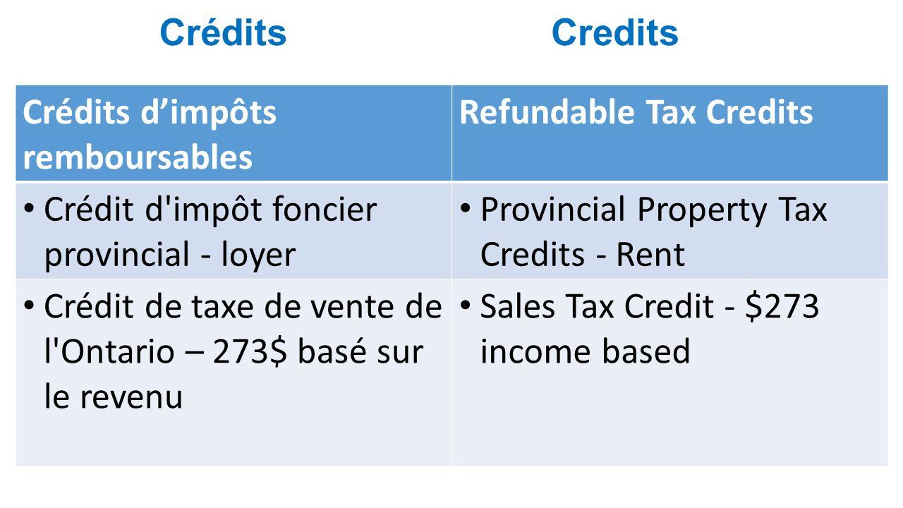 Credits Crédits dimpôts remboursables Refundable Tax Credits Crédit d impôt foncier provincial - loyer Provincial Property Tax Credits - Rent Crédit de taxe de vente de l Ontario – 273$ basé sur le revenu Sales Tax Credit - $273 income based Crédits
