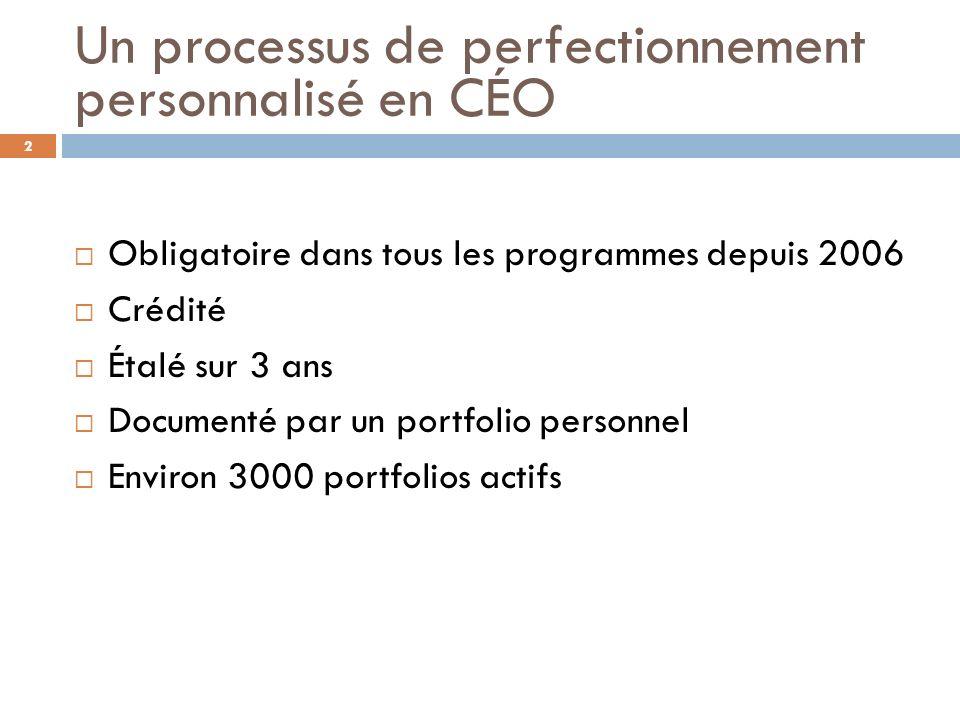 Un processus de perfectionnement personnalisé en CÉO Obligatoire dans tous les programmes depuis 2006 Crédité Étalé sur 3 ans Documenté par un portfol