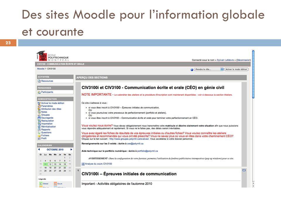 Des sites Moodle pour linformation globale et courante 23