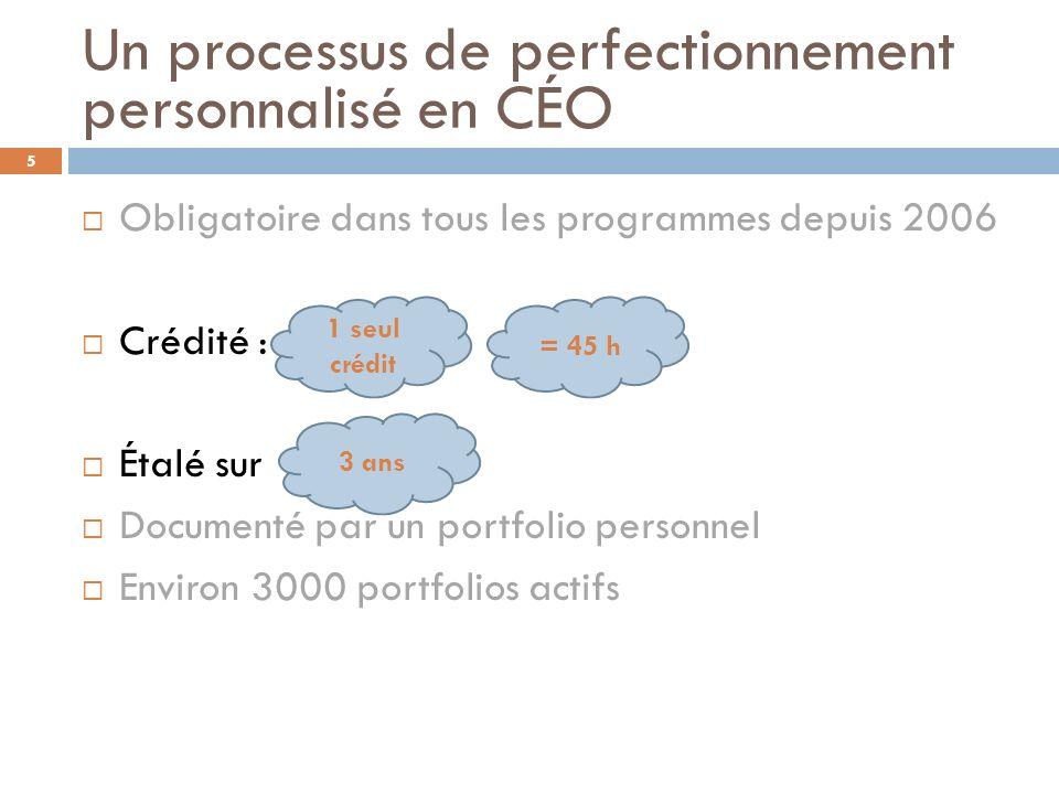 Un processus de perfectionnement personnalisé en CÉO Obligatoire dans tous les programmes depuis 2006 Crédité : Étalé sur Documenté par un portfolio p