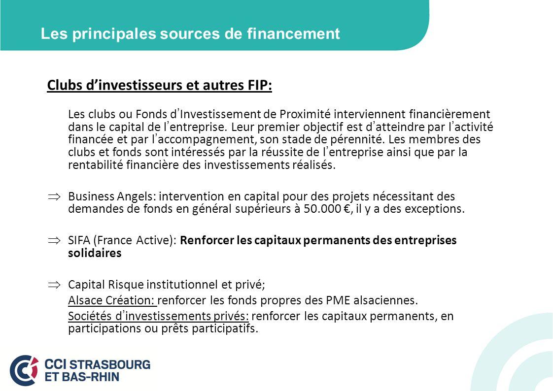 Les principales sources de financement Clubs dinvestisseurs et autres FIP: Les clubs ou Fonds dInvestissement de Proximité interviennent financièrement dans le capital de lentreprise.