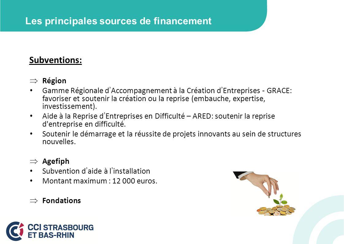 Les principales sources de financement Subventions: Région Gamme Régionale dAccompagnement à la Création dEntreprises - GRACE: favoriser et soutenir la création ou la reprise (embauche, expertise, investissement).