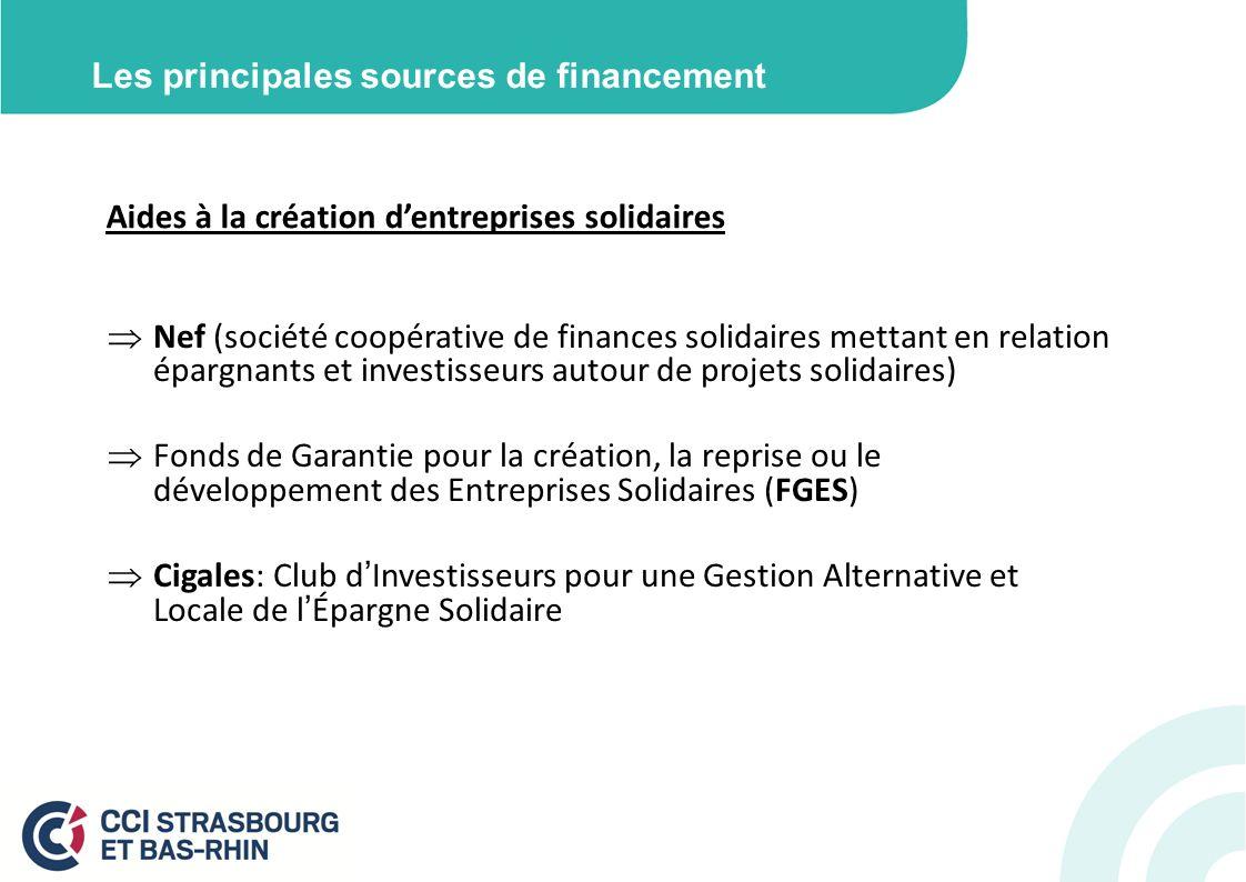 Les principales sources de financement Aides à la création dentreprises solidaires Nef (société coopérative de finances solidaires mettant en relation