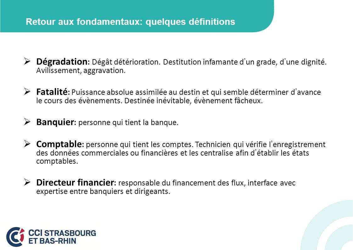 Retour aux fondamentaux: quelques définitions Dégradation : Dégât détérioration. Destitution infamante dun grade, dune dignité. Avilissement, aggravat