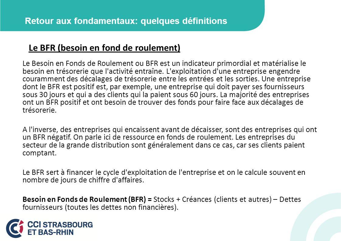 Retour aux fondamentaux: quelques définitions Le BFR (besoin en fond de roulement) Le Besoin en Fonds de Roulement ou BFR est un indicateur primordial et matérialise le besoin en trésorerie que l activité entraîne.