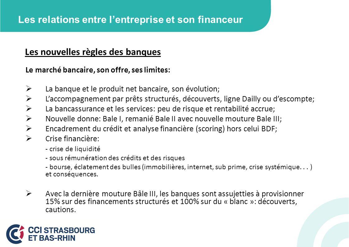 Les relations entre lentreprise et son financeur Les nouvelles règles des banques Le marché bancaire, son offre, ses limites: La banque et le produit