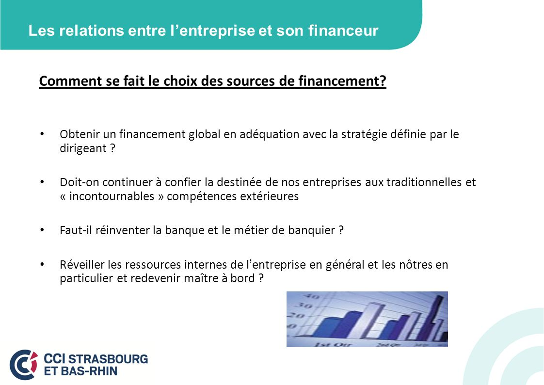 Les relations entre lentreprise et son financeur Comment se fait le choix des sources de financement? Obtenir un financement global en adéquation avec