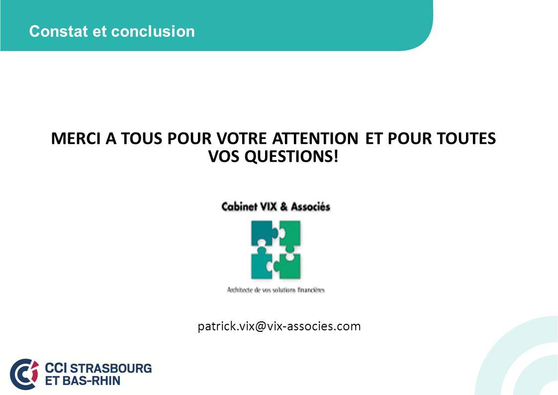 Constat et conclusion MERCI A TOUS POUR VOTRE ATTENTION ET POUR TOUTES VOS QUESTIONS! patrick.vix@vix-associes.com