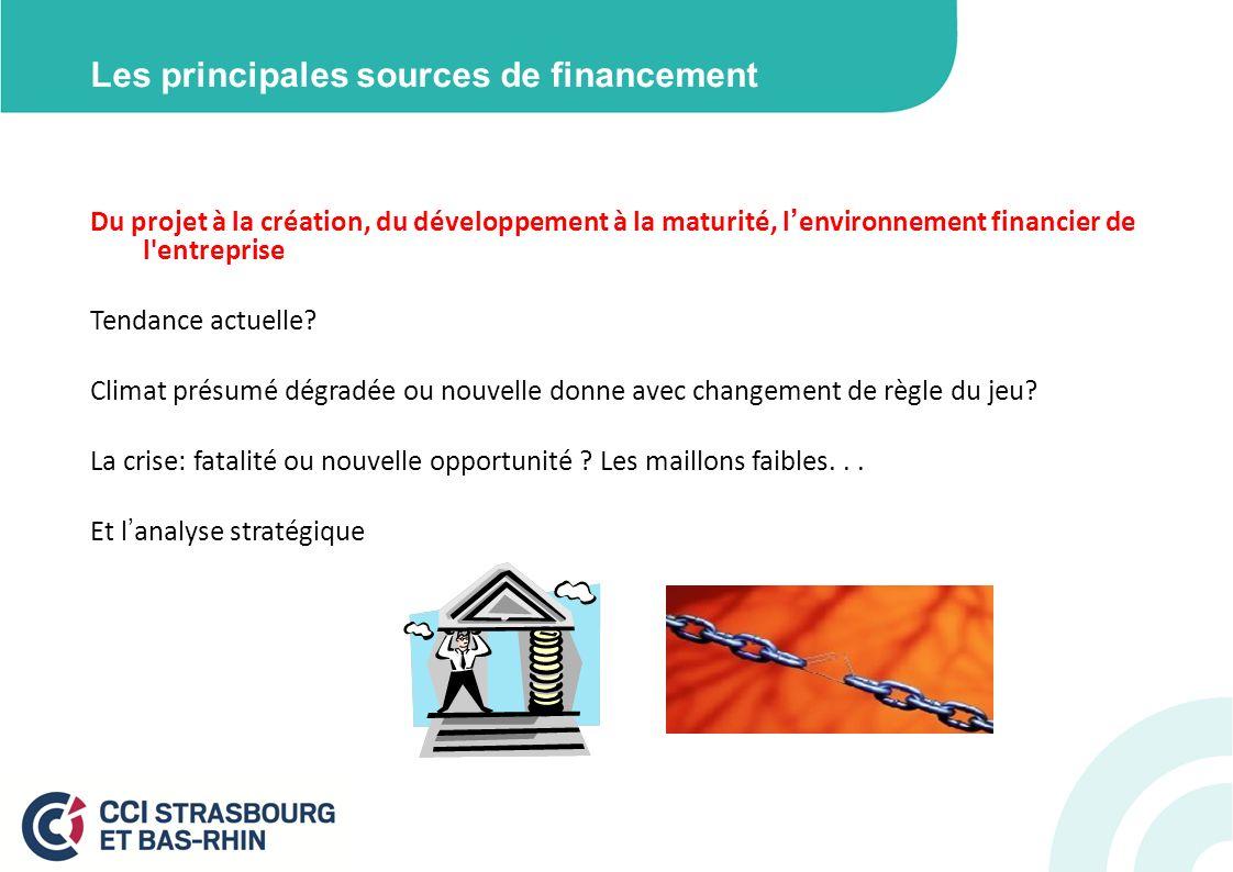 Les principales sources de financement Du projet à la création, du développement à la maturité, lenvironnement financier de l entreprise Tendance actuelle.