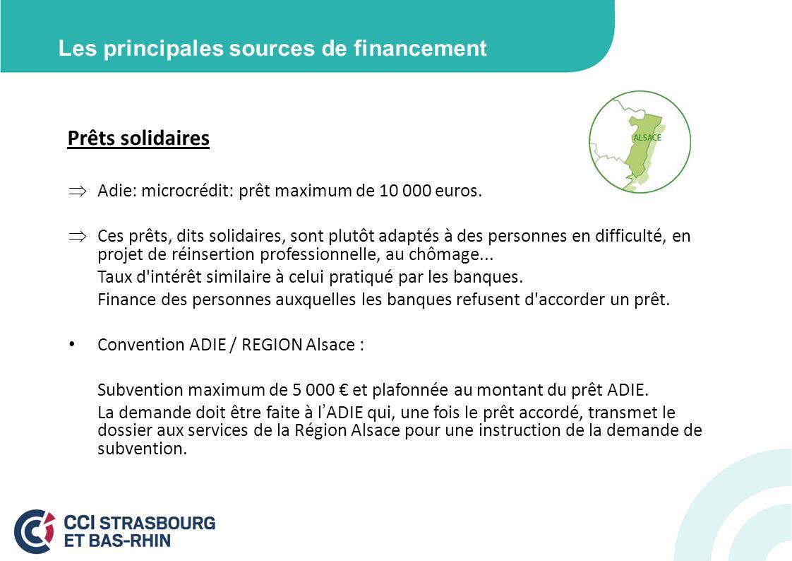Les principales sources de financement Prêts solidaires Adie: microcrédit: prêt maximum de 10 000 euros. Ces prêts, dits solidaires, sont plutôt adapt