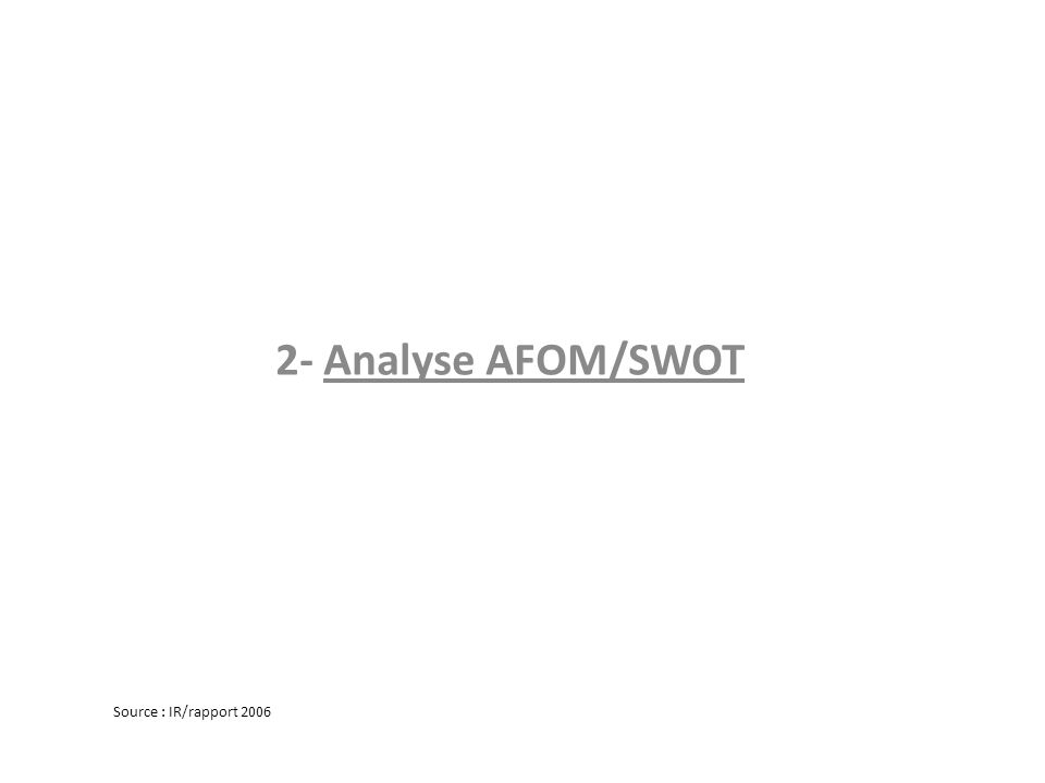 2- Analyse AFOM/SWOT Source : IR/rapport 2006