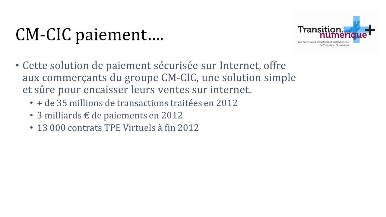 CM-CIC paiement…. Cette solution de paiement sécurisée sur Internet, offre aux commerçants du groupe CM-CIC, une solution simple et sûre pour encaisse