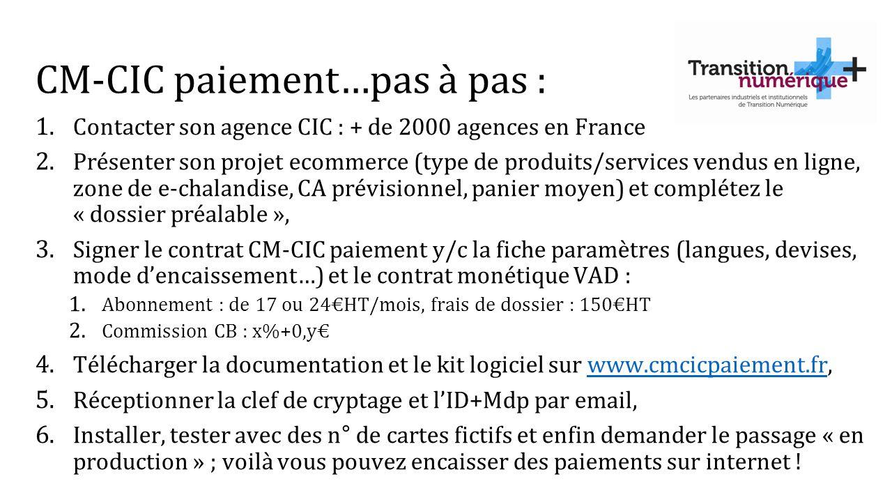 CM-CIC paiement…pas à pas : 1. Contacter son agence CIC : + de 2000 agences en France 2. Présenter son projet ecommerce (type de produits/services ven
