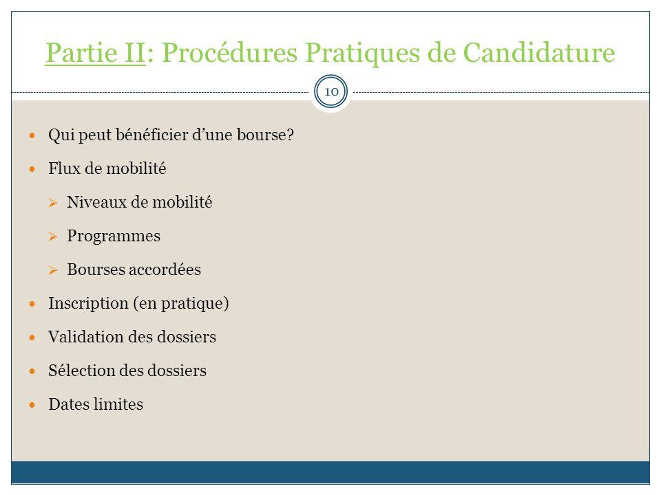 Partie II: Procédures Pratiques de Candidature Qui peut bénéficier dune bourse? Flux de mobilité Niveaux de mobilité Programmes Bourses accordées Insc