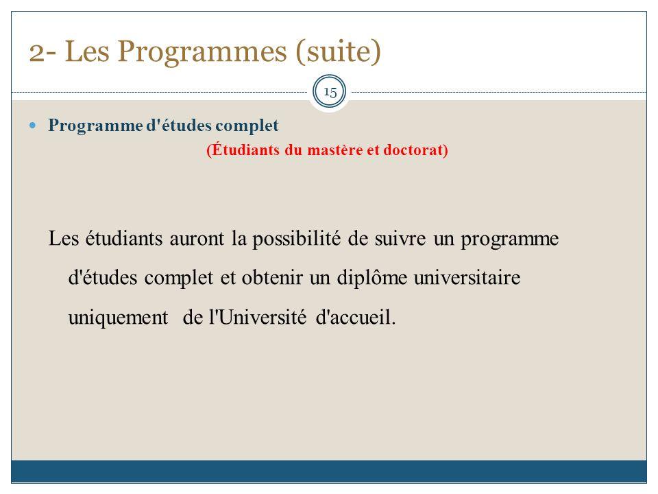 2- Les Programmes (suite) Programme d études complet (Étudiants du mastère et doctorat) Les étudiants auront la possibilité de suivre un programme d études complet et obtenir un diplôme universitaire uniquement de l Université d accueil.