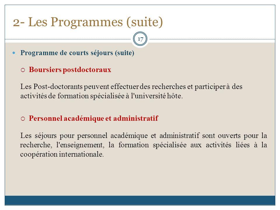 Programme de courts séjours (suite) Boursiers postdoctoraux Les Post-doctorants peuvent effectuer des recherches et participer à des activités de form