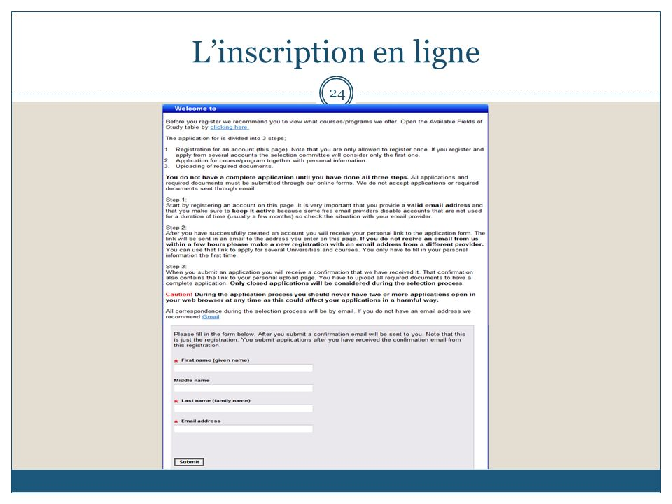 24 Linscription en ligne