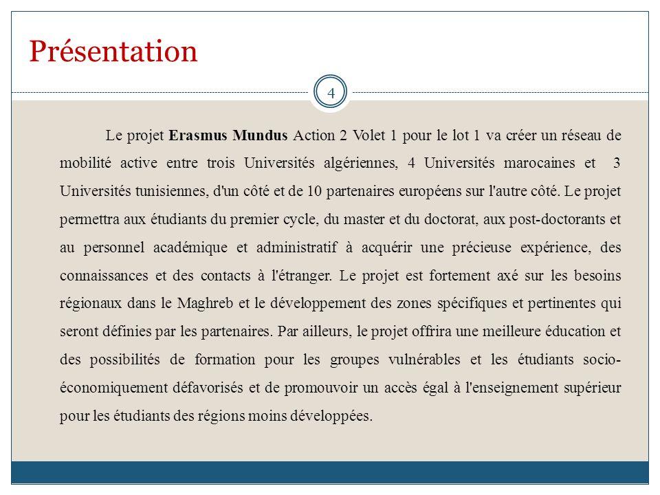 Présentation Le projet Erasmus Mundus Action 2 Volet 1 pour le lot 1 va créer un réseau de mobilité active entre trois Universités algériennes, 4 Universités marocaines et 3 Universités tunisiennes, d un côté et de 10 partenaires européens sur l autre côté.