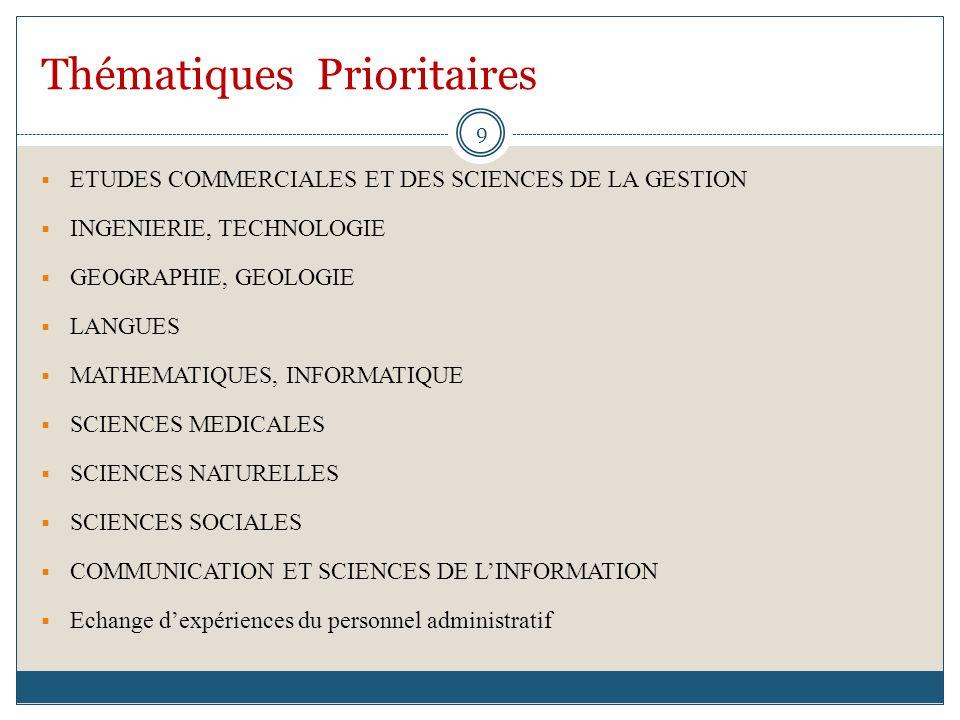 Thématiques Prioritaires ETUDES COMMERCIALES ET DES SCIENCES DE LA GESTION INGENIERIE, TECHNOLOGIE GEOGRAPHIE, GEOLOGIE LANGUES MATHEMATIQUES, INFORMA