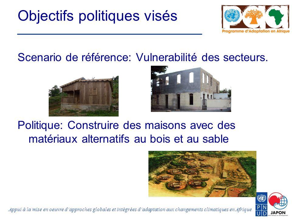 Appui à la mise en oeuvre dapproches globales et intégrées dadaptation aux changements climatiques en Afrique Objectifs politiques visés Scenario de référence: Vulnerabilité des secteurs.
