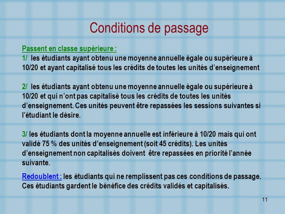 11 Conditions de passage Passent en classe supérieure : 1/ les étudiants ayant obtenu une moyenne annuelle égale ou supérieure à 10/20 et ayant capita