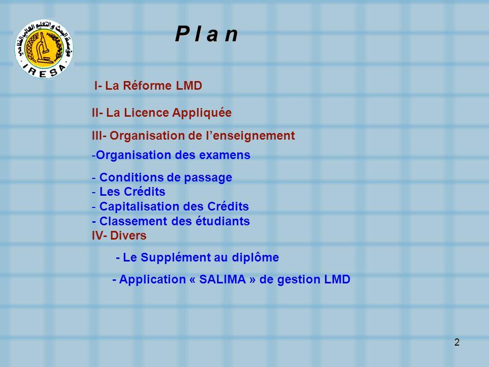 2 P l a n I- La Réforme LMD II- La Licence Appliquée III- Organisation de lenseignement -Organisation des examens - Conditions de passage - Les Crédit