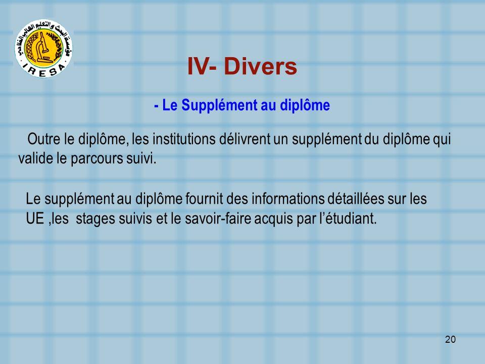20 IV- Divers - Le Supplément au diplôme Outre le diplôme, les institutions délivrent un supplément du diplôme qui valide le parcours suivi. Le supplé
