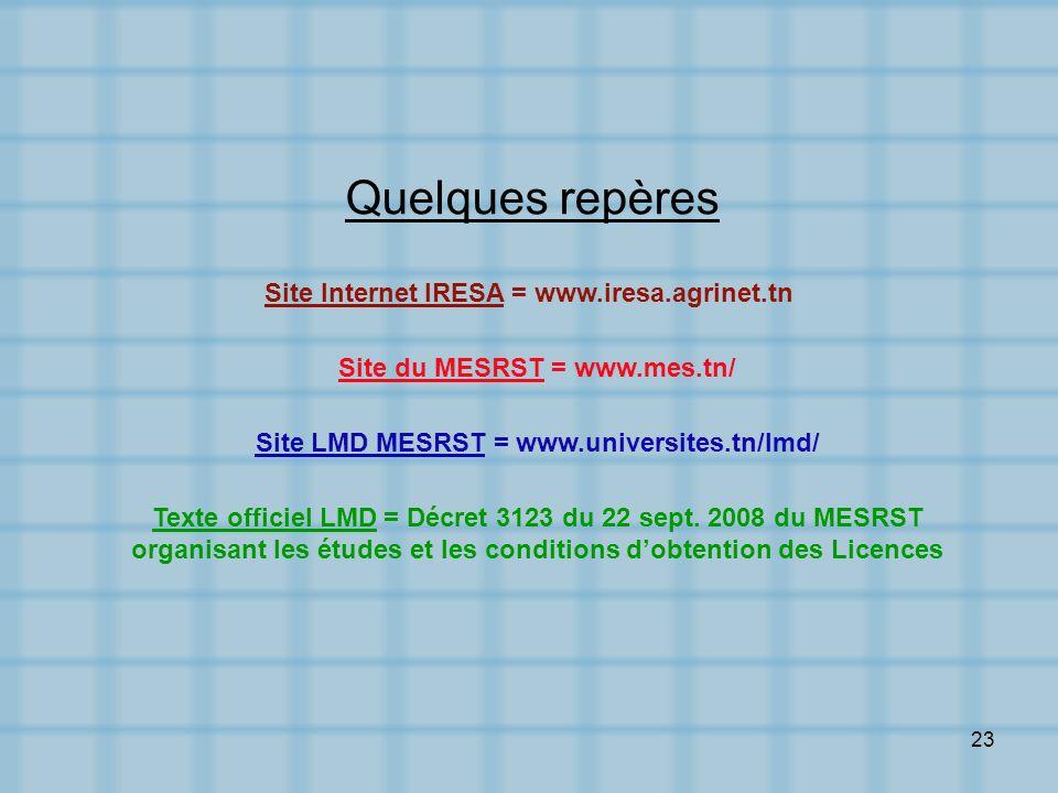 23 Site Internet IRESA = www.iresa.agrinet.tn Site LMD MESRST = www.universites.tn/lmd/ Texte officiel LMD = Décret 3123 du 22 sept. 2008 du MESRST or