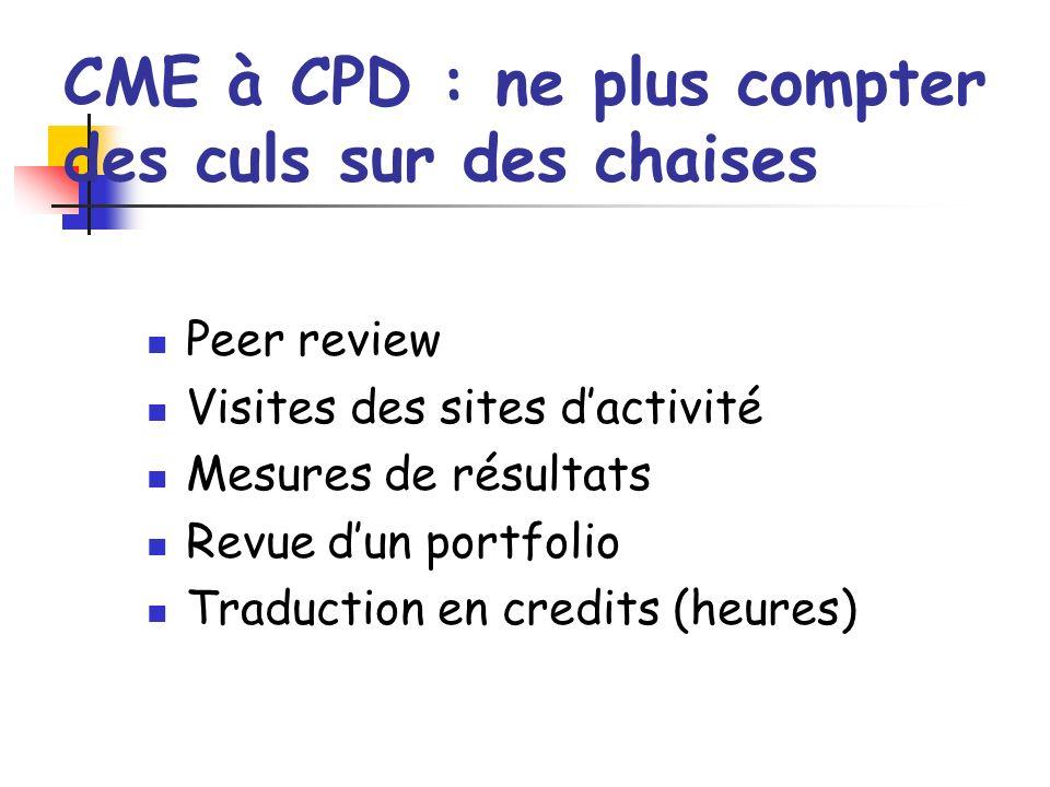 CME à CPD : ne plus compter des culs sur des chaises Peer review Visites des sites dactivité Mesures de résultats Revue dun portfolio Traduction en credits (heures)
