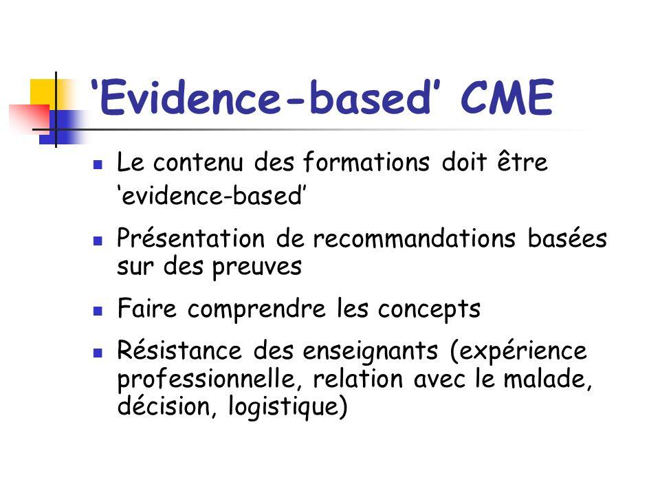Evidence-based CME Le contenu des formations doit être evidence-based Présentation de recommandations basées sur des preuves Faire comprendre les concepts Résistance des enseignants (expérience professionnelle, relation avec le malade, décision, logistique)